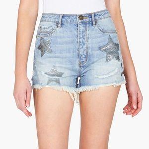 Sass Bide City Mind Sequin Star Shorts Denim Jean